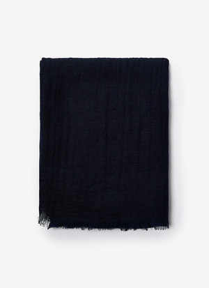 LINEN & COTTON FOULARD WITH FRAYED EDGES