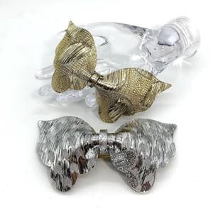 USAヴィンテージ lucite リボン バレッタ(gold & silver)
