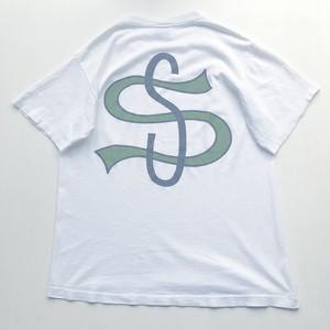 80~90s STUSSY  USA製 黒タグ ビッグリーグ Tシャツ 白 表記(L)