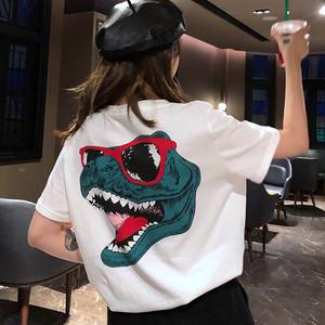 【トップス】ファションルーズカジュアルプリントラウンドネックTシャツ