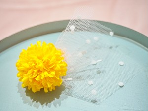 tulle flower hair elastic〜yellow〜