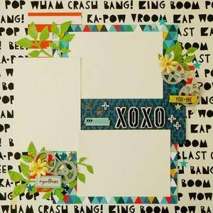 <写真を貼るだけ>12インチスクラップブッキング作品「XOXO」