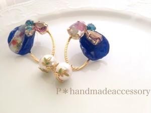 本物の青いバラとスワロフスキーのパーティ使用ピアスORイヤリング