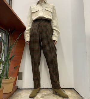 1980s MADE IN USA CRISTINA check pattern wool mix pants 【5】