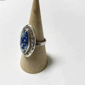 Vintage Sterling Art Glass Cabochon Ring Made By Alex