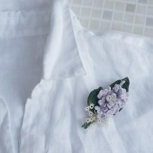 手編みのライラックブローチ(C)