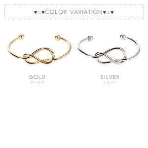 【ブレス】全2色!メタル8字むすびブレスレットバングル