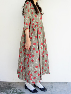ina(イナ)ウエスト切替ギャザーワンピース D・BEIGE/RED