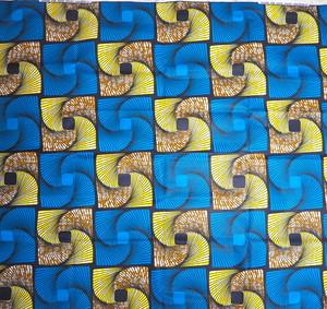 アフリカ布6ヤード【黄色×青】