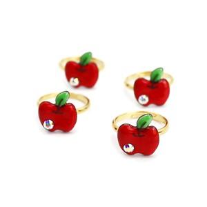 七宝焼きリング りんごちゃん レッド