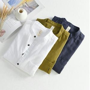 リネンコットン半袖シャツバンドカラー。ブルー/ホワイト/グリーン