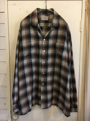 60s shadow plaid rayon flannel shirts