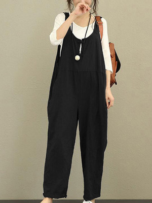 【bottoms】Overalls casual plain fashion forest girl jean