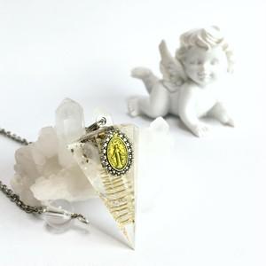 【六角錐オルゴナイトペンデュラム】マリア様メダイ