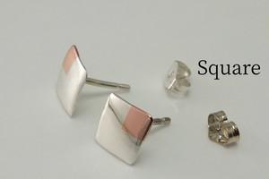 SquareW7+C - 四角いピアス +銅<スタッド>