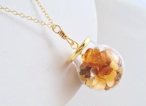 Jewel Box ◇バルト海産琥珀原石 K14GFペンダント