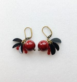 飛騨春慶のピアス 紅/botanical