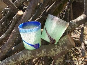 琉球ガラスのペアグラス 泡口ぼかし一筆ロックグラス 紫・青ペア |みんるー商店