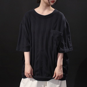 wide silhouette vertical stripe switching fabric pocket tee