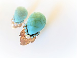 vintage pierced earrings leaf tq <PE-TQdrlf1>