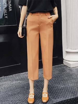 【bottoms】Fashion high waist solid color pants
