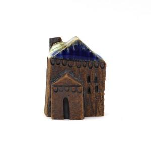 ちいさな陶器のお家 ミニチュア陶器ハウス 小人のお家 青と白の屋根 DP-001