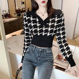 【トップス】ファッションVネック千鳥格子収束着痩せ効果ありショートニットセーター