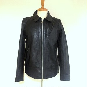 Sheep Leather Vegetable-Tanning Single Riders JKT Black