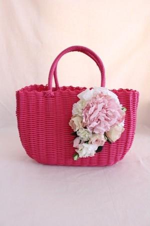 【最終価格】フラワーカゴバッグ•ピンク/フラワーバッグ