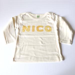 【受注生産】 ビスケットアルファベット お名前 ベビーTシャツ (プレーン) ● organic cotton 100%