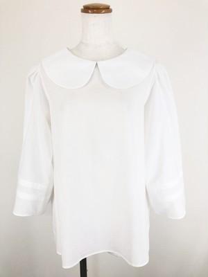 ビジネスシーンで着たい オフホワイトの上質シルキー綿ローン生地で作った 袖口ラインとシンプルシルエットのエレガントスポーティな8分袖丸襟ブラウス。 一点もの 通勤 通学 コットン100% オールシーズン オーバーブラウス 快適
