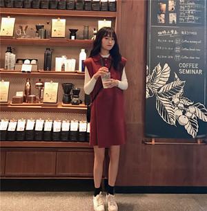 秋冬新商品 ベストワンピース ベイクドカラースカート【0523】