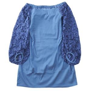 botanical lace off the shoulder dress/(blue)