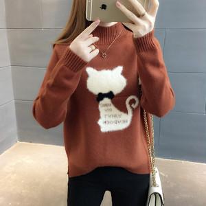 【tops】可愛いプリントストレッチニットセーター