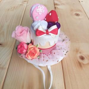 ◆小さめサイズ◆ケーキ型シルクハット ピンクVer.