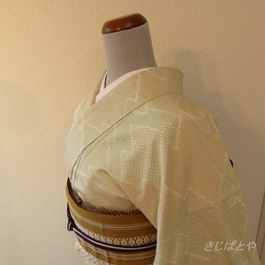 【A様ご予約品】正絹紬 白地に松皮菱の小紋 袷
