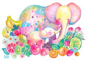 果物とゾウの親子[原画]
