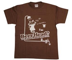 びーるのみT。7th『Beer Head ?』〔半袖〕(茶+白)