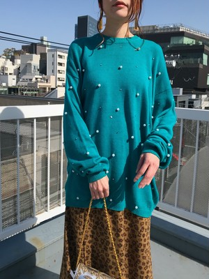 Vintage turquoise × Perl summer knit tops ( ヴィンテージ ターコイズ × パール サマー ニット トップス )