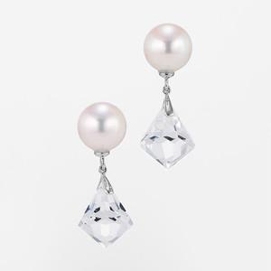 Pure K18WG Pearl Crystal Pierce (パール クリスタル ピアス)