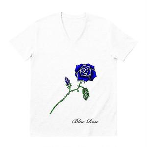 青い薔薇1輪Tシャツのホワイトだよ☆しかもVネック☆
