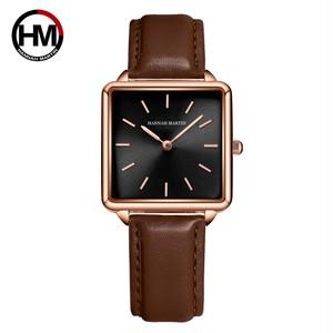 本革ストラップ日本クォーツムーブメントHM-108女性シンプルなデザインのトップの高級ブランド腕時計レディーススクエア腕時計108PZ2