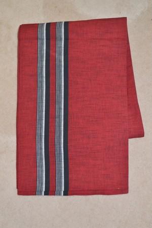 【京袋帯】リバーシブル赤&黒白の変わり縞【未使用品】