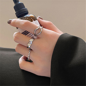 trend silver ring 3set