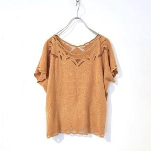 Vintage Orange Bali Embroidered Cutwork Rayon Top / カットワーク刺繍レーヨントップス
