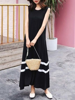 【dress】Summer fashion round neck casual dress