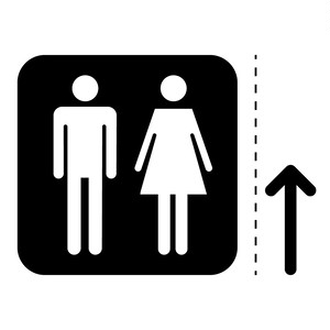 男女トイレ標識のカッティングステッカーシール