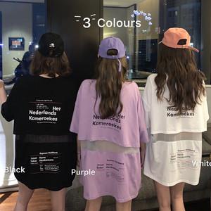 【トップス】絶対欲しい3色展開ファッション切り替えメッシュアルファベットTシャツ30094315