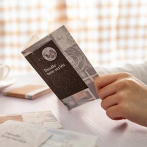 レトロ メモパッド メモ帳 全8種 紙もの 紙活 素材紙 カード コラージュ 星空 Doodle note series E08