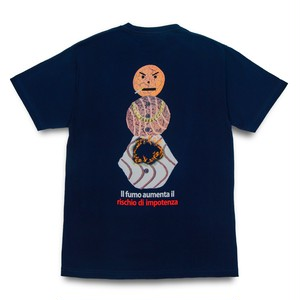 QUARTERSNACKS / SMOKERS WARNING SNACKMAN TEE -NAVY-